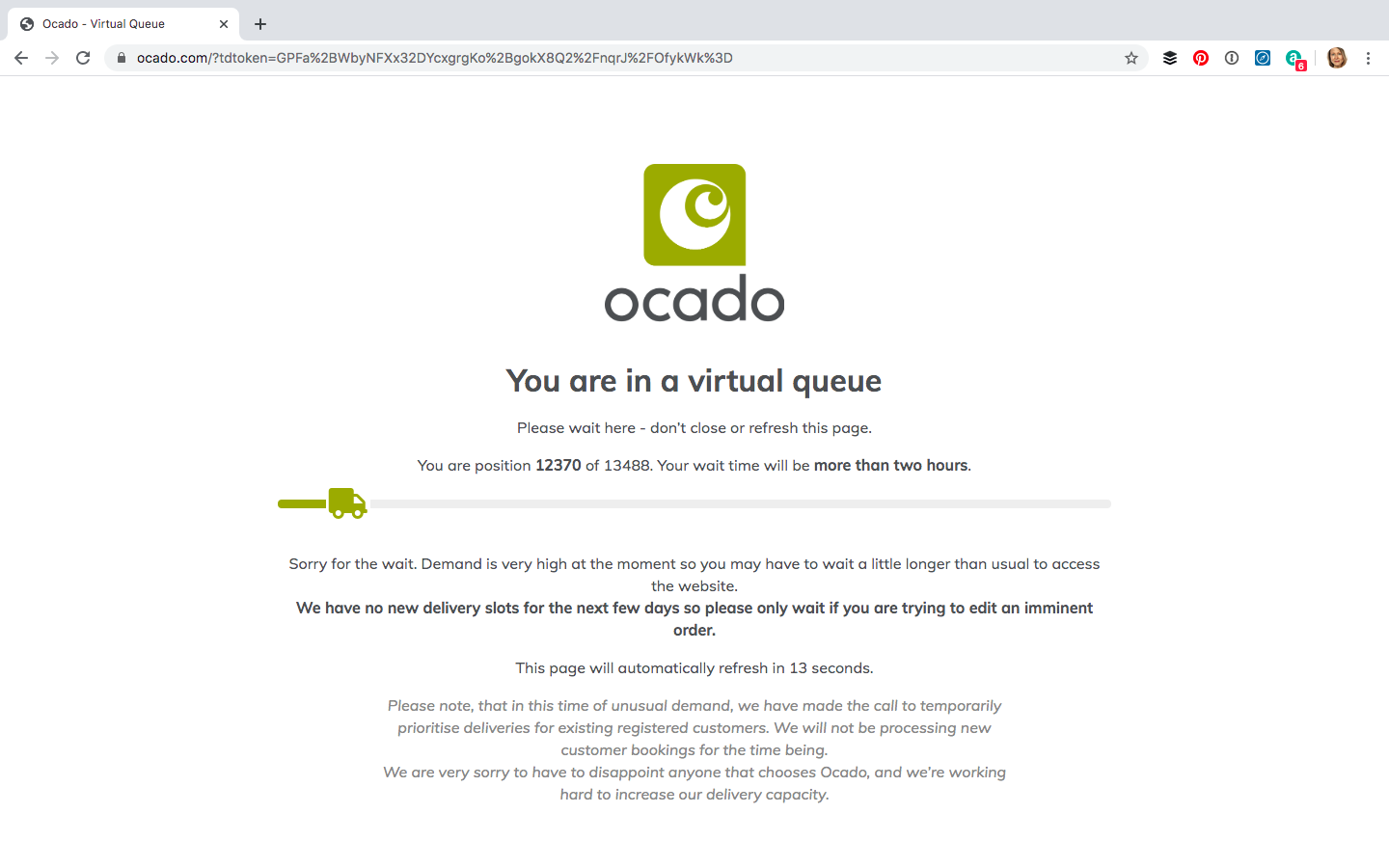 2 Ocado website - you are no 12370 in the queue